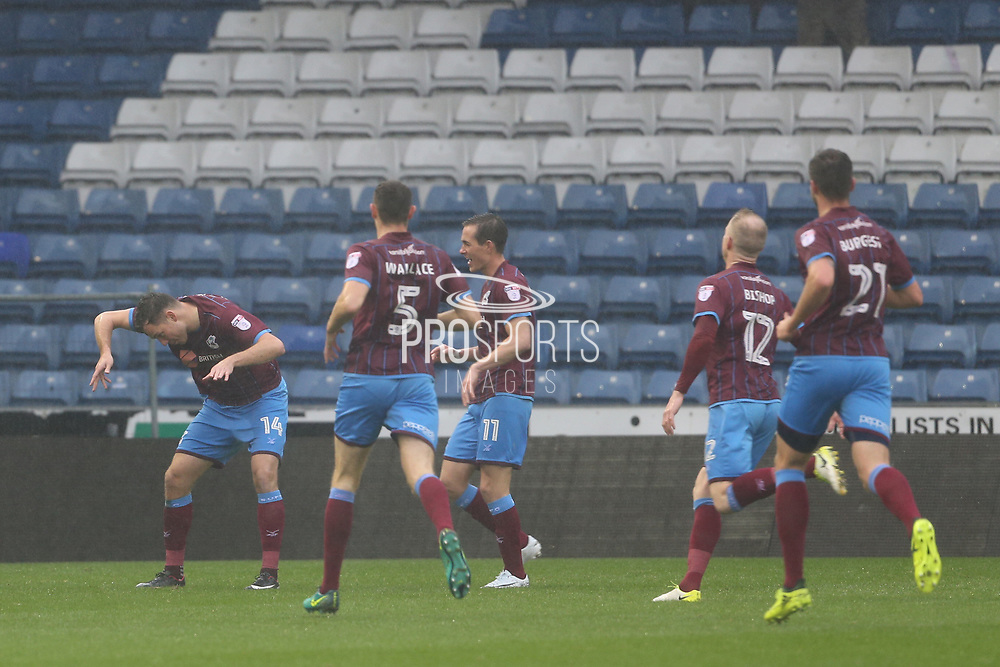 Tom Hopper Scunthorpe Forward celebrates his goal during the EFL Sky Bet League 1 match between Oldham Athletic and Scunthorpe United at Boundary Park, Oldham, England on 28 October 2017. Photo by George Franks.