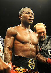 28 August 2009: Tavoris Cloud (gold trunks) defeated Clinton Woods for the IBF Light Heavyweight Title at the Seminole Hard Rock Hotel and Casino in Hollywood, Florida.