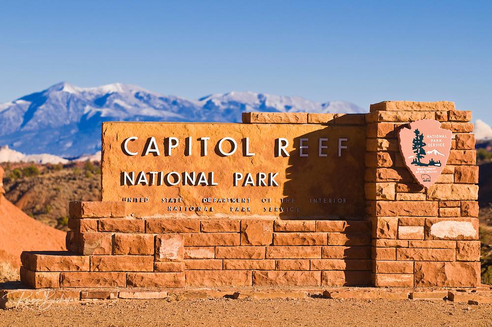 Park entrance sign, Capitol Reef National Park, Utah