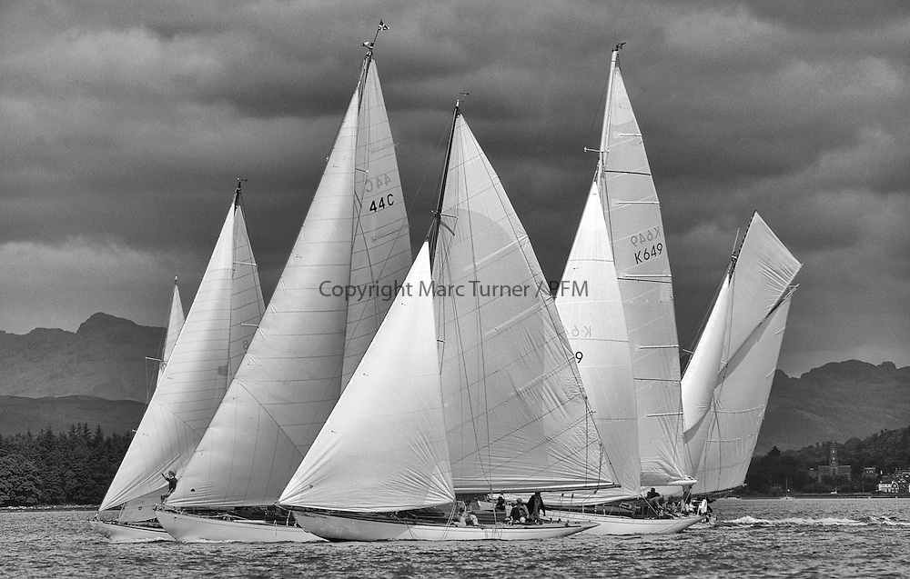 Close Racing at the start of the passage race to Rothesay off Helensburgh. Mikado, Solway Maid, Clio, Sonata and Viola race for the favoured end.<br /> Limited to ten prints in Black &amp; White, printed on fine art paper 24&quot;x16&quot;, stamped and signed.