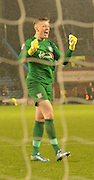 Preston North End Goalkeeper, Jordan Pickford cany contain his feelings as Preston go 2-0 up during the Sky Bet Championship match between Burnley and Preston North End at Turf Moor, Burnley, England on 5 December 2015. Photo by Mark Pollitt.