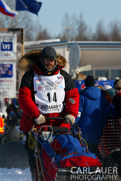 3/4/2007:  Willow, Alaska -  Veteran Randy Cummins of Big Lake, AK at the start of the 35th Iditarod Sled Dog Race