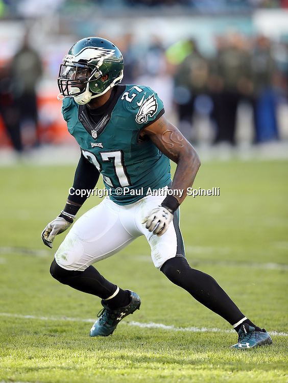 Philadelphia Eagles free safety Malcolm Jenkins (27) chases the action during the 2015 week 10 regular season NFL football game against the Miami Dolphins on Sunday, Nov. 15, 2015 in Philadelphia. The Dolphins won the game 20-19. (©Paul Anthony Spinelli)