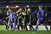 Brighton & Hove Albion winger Anthony Knockaert (11) scores a goal 1-1 and celebrates during the EFL Sky Bet Championship match between Birmingham City and Brighton and Hove Albion at St Andrews, Birmingham, England on 17 December 2016.