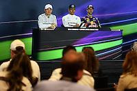 The FIA Press Conference (L to R): Nico Rosberg (GER) Mercedes AMG F1, second; Lewis Hamilton (GBR) Mercedes AMG F1, race winner; Daniel Ricciardo (AUS) Red Bull Racing, third.<br /> United States Grand Prix, Sunday 2nd November 2014. Circuit of the Americas, Austin, Texas, USA.