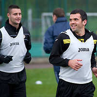St Johnstone Training....18.11.11<br /> Callum Davidson pictured in training this morning ahead of tomorrows game against Rangers, pictured with Marcus Haber<br /> Picture by Graeme Hart.<br /> Copyright Perthshire Picture Agency<br /> Tel: 01738 623350  Mobile: 07990 594431