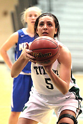 15 January 2014:  Kasey Reaber during an NCAA women's division 3 basketball game between the Millikin Big Blue and the Illinois Wesleyan Titans in Shirk Center, Bloomington IL