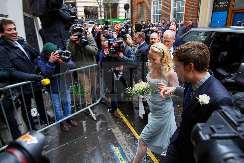 © Licensed to London News Pictures. 05/03/2016. London, UK. Jerry Hall arriving to her wedding ceremony to celebrate her marriage with Rupert Murdoch at St Bride's Church in Fleet Street, London on Saturday, 5 March 2016. Photo credit: Tolga Akmen/LNP