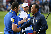 Jon Rahm (Esp) and Tiger Woods (Usa) during the sunday singles session of Ryder Cup 2018, at Golf National in Saint-Quentin-en-Yvelines, France, September 30, 2018 - Photo Philippe Millereau / KMSP / ProSportsImages / DPPI