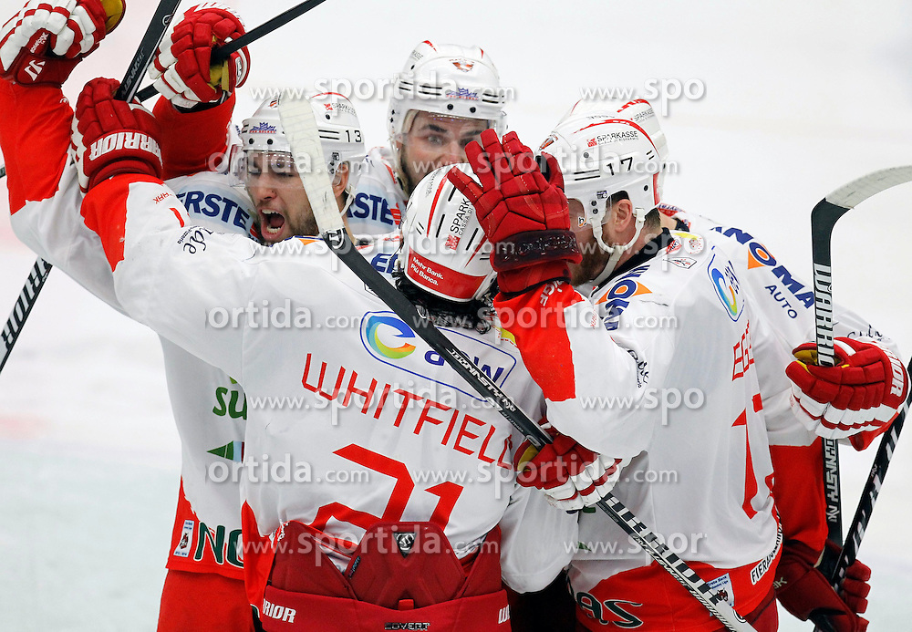 30.03. 2014, Stadthalle, Villach, AUT, EBEL, EC VSV vs HCB Suedtirol, Playoff Halbfinale 4. Runde, im Bild der Jubel von Suedtirol // during the Erste Bank Icehockey League Playoff Semifinal 4th Round match between EC VSV vs HCB Suedtirol at the City Hall, Villach, Austria, 2014/03/30, EXPA Pictures © 2014, PhotoCredit: EXPA/ Oskar Hoeher