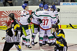 03.10.2014, König Palast, Krefeld, GER, DEL, Krefeld Pinguine vs Augsburger Panther, 7. Runde, im Bild Jeff Woywitka #6 (Augsburger Panther), Arvids Rekis #37 (Augsburger Panther) und T.J. Trevelyan #24 (Augsburger Panther) freuen sich ueber das Tor zum 0:1. Gestik, Spass, Freude, Jubel, Gut gelaunt, Begeistert, Querformat // during germans DEL Icehockey League 7th round match between Krefeld Pinguine and Augsburger Panther at the König Palast in Krefeld, Germany on 2014/10/03. EXPA Pictures © 2014, PhotoCredit: EXPA/ Eibner-Pressefoto/ Grimme<br /> <br /> *****ATTENTION - OUT of GER*****