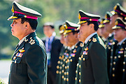 29 SEPTEMBER 2014 - NAKHON NAYOK, NAKHON NAYOK, THAILAND:  General PRAYUTH CHAN-OCHA reviews Thai soldiers at the retirement ceremony for Prayuth and 200 other generals. Gen. Prayuth Chan-ocha led the 22 May coup against the civilian government earlier this year. Prayuth has been chief of the Thai army since 2010. After his retirement, Gen. Prayuth will retain his posts as head of the junta's National Council for Peace and Order (NCPO) and Prime Minister of Thailand. Under Thai law, military officers must retire at 60 years of age. The 200 generals who retired with Prayuth were also his classmates at the Chulalomklao Royal Military Academy in Nakhon Nayok.   PHOTO BY JACK KURTZ