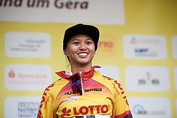 Coryn Rivera (USA) retains the race lead at Lotto Thuringen Ladies Tour 2018 - Stage 4, a 118 km road race starting and finishing in Gera, Germany on May 31, 2018. Photo by Sean Robinson/Velofocus.com