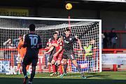 Crawley Town forward James Collins (19) and Morecambe defender Ryan Edwards (5) during the EFL Sky Bet League 2 match between Crawley Town and Morecambe at the Checkatrade.com Stadium, Crawley, England on 18 February 2017. Photo by David Charbit.