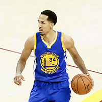 10 June 2016: Golden State Warriors guard Shaun Livingston (34) dribbles during the Golden State Warriors 108-97 victory over the Cleveland Cavaliers, during Game Four of the 2016 NBA Finals at the Quicken Loans Arena, Cleveland, Ohio, USA.