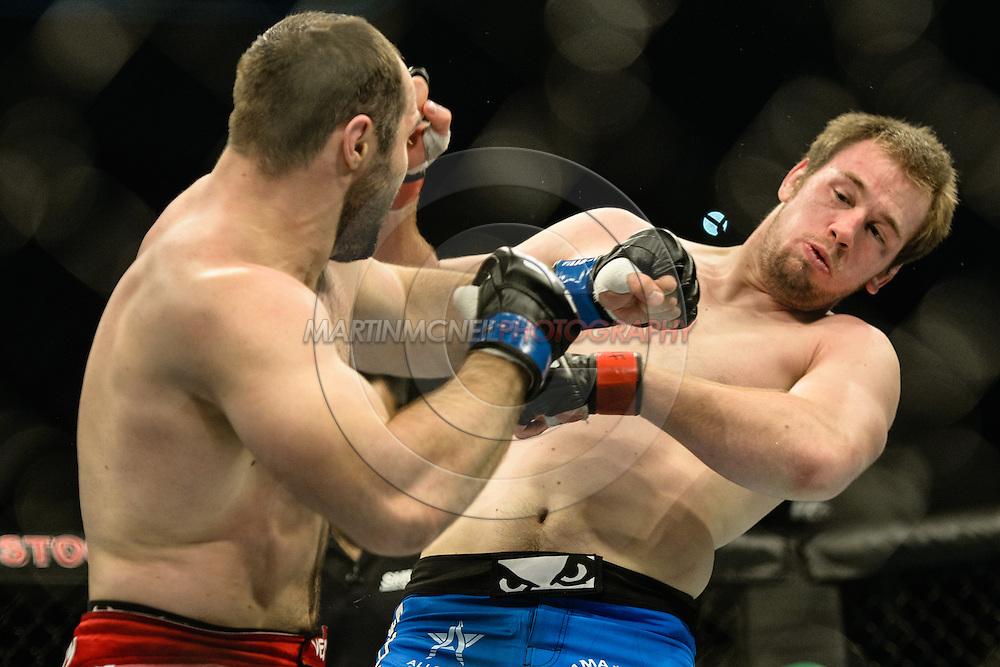 """STOCKHOLM, SWEDEN, JANUARY 24, 2015: Viktor Pesta and Konstantin Erokhin during """"UFC on Fox 14: Gustafsson vs. Johnson"""" inside Tele2 Arena in Stockholm, Sweden"""