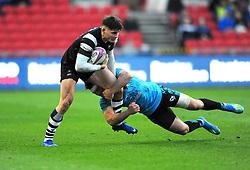 Stanislav Selskii of Enisei-STM tackles Piers O'Conor of Bristol Bears- Mandatory by-line: Nizaam Jones/JMP - 19/01/2019 - RUGBY - Ashton Gate Stadium - Bristol, England - Bristol Bears v Enisei-STM - European Rugby Challenge Cup