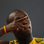 Usain Bolt of Jamaica celebrates after crossing the line in the Men's 100m Final at the National Stadium on Day 8 of the Beijing 2008 Olympic Games on August 16, 2008 in Beijing, China. Bolt finished the event in first place with a time of 9.69, a new World Record. Photo Tim Clayton