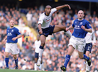 Frederic Kanoute (Spurs) scores with a magnificent volley for Tottenham's 1st goal. Tottenham Hotspur v Everton. 4/10/2003. Credit : Colorsport/Andrew Cowie.