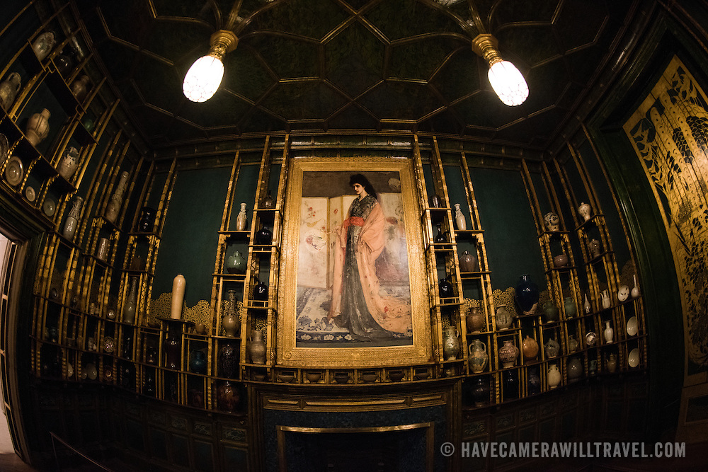 The most famous display in the Freer Gallery of Art in Washington DC, the Peacock Room is an opulently decorated dining room decorated first by James McNeill Whistler and later edited by Freer. It was originally in a London home. Sitting on the National Mall and part of the Smithsonian Institution, the Freer Gallery opened in 1923 to house the art collection of Charles Lang Freer. It has since been merged with the Arthur M. Sackler Gallery to form the National Museum of Asian Art for the United States of America.