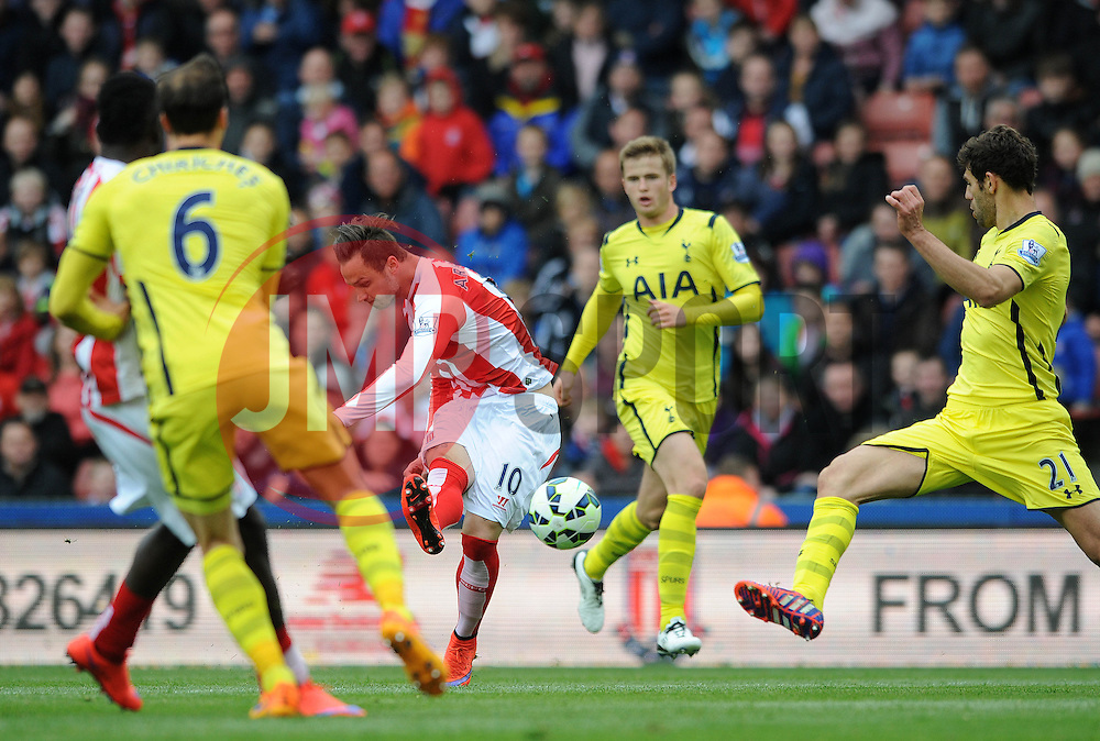 Stoke City's Marko Arnautovic takes a shot on goal - Photo mandatory by-line: Dougie Allward/JMP - Mobile: 07966 386802 - 09/05/2015 - SPORT - Football - Stoke - Britannia Stadium<br />  - Stoke v Tottenham Hotspur - Barclays Premier League