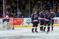 KELOWNA, CANADA - OCTOBER 21: James Porter #1, Leif Mattson #28, Carsen Twarynski #18, Dillon Dube #19 and Gordie Ballhorn #4 of the Kelowna Rockets stand pn the ice while a goal is under review against the Portland Winterhawks on October 21, 2017 at Prospera Place in Kelowna, British Columbia, Canada.  (Photo by Marissa Baecker/Shoot the Breeze)  *** Local Caption ***