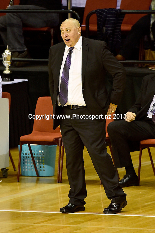 Jeff Green head coach of the Super City Rangers speaks to the ref during the NBL semi final basketball match between Southland and Super City Rangers at the TSB Arena in Wellington on Saturday the 4th of July 2015. Copyright photo by Marty Melville / www.Photosport.nz