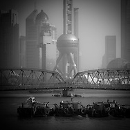 China, Shanghai. Pudong slyline and Waibadu bridge view from the Bund, Suzhou creek