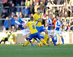 Bristol Rovers' Eliot Richards is fouled by AFC Wimbledon's Sammy Moore - Photo mandatory by-line: Dougie Allward/JMP - Tel: Mobile: 07966 386802 30/11/2013 - SPORT - Football - Bristol - Memorial Stadium - Bristol Rovers v AFC Wimbledon - Sky Bet League Two