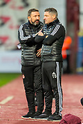 Aberdeen manager Derek McInnes discusses tactics with assistant manager Tony Docherty during the Ladbrokes Scottish Premiership match between Heart of Midlothian FC and Aberdeen FC at Tynecastle Stadium, Edinburgh, Scotland on 29 December 2019.