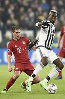 Philip Lahm Bayern, Paul Pogba Juventus <br /> Torino 23-02-2016 Juventus Stadium, Football Champions League 2015/2016 Round of 16 Juventus - Bayern Munich / Juventus - Bayern Monaco .  Foto Image Sport / Insidefoto