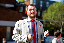 © Licensed to London News Pictures. 03/05/2018. London, UK. Labour's parliamentary candidate for the Cities of London & Westminster STEVEN SAXBY speaks outside Pimlico Tube Station as part of 'Unseat Westminster Tory Council'. The gathering was arranged to round up volunteers to speak to Westminster residents who said they would vote for labour. Photo credit : Tom Nicholson/LNP