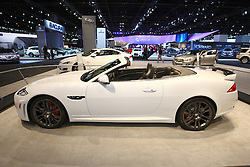 08 February 2012: 2012 JAGUAR XK: For 2012, the rear-wheel drive XK is offered in Coupe and Convertible, with elegant 2+2 passenger cockpit. Fresh exterior components include the larger grille and new bumper design, slimmer headlights, LED turn signals and distinctive 'J-Blade' running lights. Chrome mesh grilles on the XK are replaced with black detailing on the XKR while the XKR-S receives a unique front fascia with carbon fiber details. The power vent on the front fender has been altered from a vertical to horizontal design with a mesh insert, and the rear decklid has been revised. Three versions of the 5.0-liter V8 are available, including a supercharged edition that packs 510 horsepower and 461 lb. ft. of torque. For $132,000, you can select the new XKR-S model equipped with the 5.0L that generates a monstrous 550 horsepower and 502 lb. ft. of torque, making it the most powerful Jaguar road car ever. Complementing the design changes are 16 paint colors, four of which are new. A range of 10 alloy wheel designs, from 19 to 20-inches is available, and ask about the 'Black Pack' option. Chicago Auto Show, Chicago Automobile Trade Association (CATA), McCormick Place, Chicago Illinois