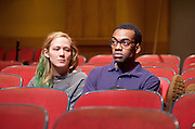 The Flick <br /> by Annie Baker <br /> at the Dorfman Theatre, National Theatre, Southbank, London, Great Britain <br /> 18th April 2016 <br /> <br /> Louise Krause as Rose<br /> Jaygann Ayeh as Avery <br /> <br /> <br /> Photograph by Elliott Franks <br /> Image licensed to Elliott Franks Photography Services