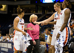 Virginia head coach Debbie Ryan shares a smile with her team as the #4 seed/#24 ranked Virginia Cavaliers defeated the #13 seed Santa Barbara Gauchos 86-52 in the first round of the 2008 NCAA Division 1 Women's Basketball Championship at the Ted Constant Convocation Center in Norfolk, VA on March 23, 2008