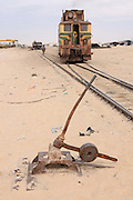 Track switch before the Iron ore train of Zouerat, the longest and heaviest train in the world, Nouadhibou, Western Africa, Mauretania, Africa