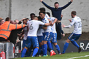 Bury Midfielder, Tom Soares (19) scores 1-1 during the EFL Sky Bet League 1 match between Bury and Scunthorpe United at the JD Stadium, Bury, England on 1 October 2016. Photo by Mark Pollitt.