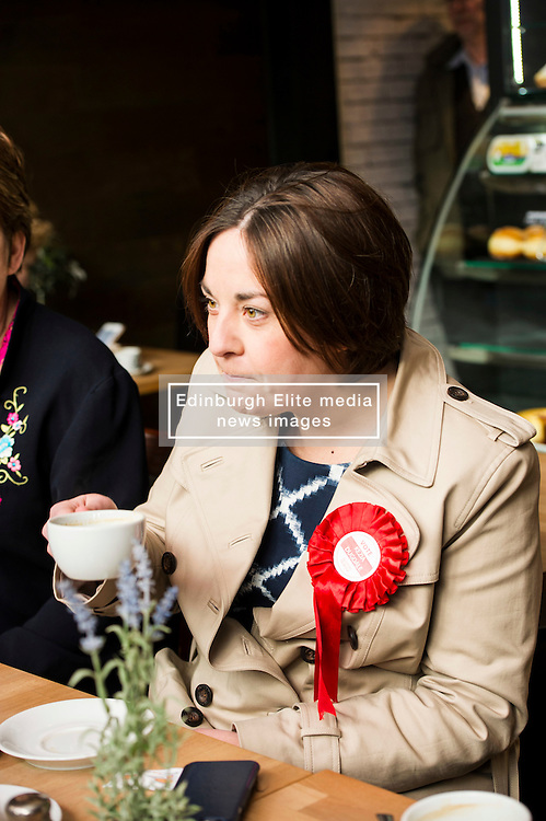 Pictured: Kezia Dugdale up for making the coffee<br /> <br /> Scottish Labour leader Kezia Dugdale met some of her supporters inside the Case Amiga cafe in Edinburgh today before they began canvassing for the day. She was joined by Lesley Hinds,  Labour Party candidate for Northern and Leith.<br /> <br /> Ger Harley | EEm 6 April 2016
