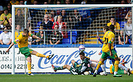 Hartlepool - Saturday August 29th, 2009: Michael Nelson of Norwich City (L) clears the ball off the line shortly after scoring down the other end during the Coca Cola League One match at Victoria Park, Hartlepool. (Pic by Jed Wee/Focus Images)..