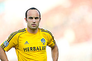 FRISCO, TX - AUGUST 11:  Landon Donovan #10 of the Los Angeles Galaxy looks on during warmups against FC Dallas on August 11, 2013 at FC Dallas Stadium in Frisco, Texas.  (Photo by Cooper Neill/Getty Images) *** Local Caption *** Landon Donovan