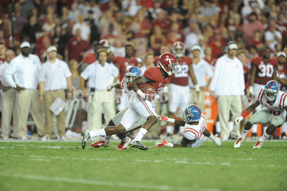 Ole Miss vs. Alabama Crimson Tide wide receiver Calvin Ridley (3) at Bryant-Denny Stadium in Tuscaloosa, Ala. on Saturday, September 19, 2015. Ole Miss won 43-37.