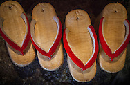 Maiko shoes.Okobo (tall wooden shoes).Kyoto. Kansai, Japan.