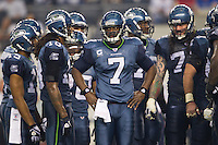 06 November 2011: Quarterback (7) Tarvaris Jackson of the Seattle Seahawks stands in his huddle during a timeout while playing against the Dallas Cowboys during the second half of the Cowboys 23-13 victory over the Seahawks at Cowboy Stadium in Arlington, TX.