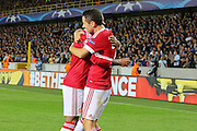Ander Herrera of Manchester United is congratulated after the 4th goal during the Champions League Qualifying Play-Off Round match between Club Brugge and Manchester United at the Jan Breydel Stadion, Brugge, Belguim on 26 August 2015. Photo by Phil Duncan.