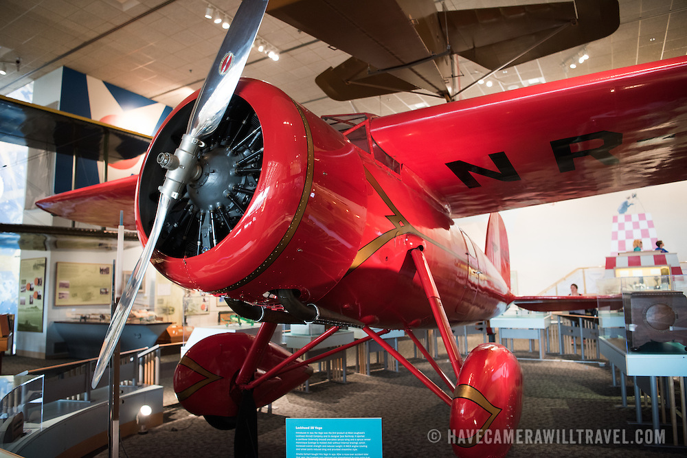 Amelia Earhart's Lockheed 5B Vega. The Smithsonian's National Air and Space Museum on the National Mall in Washington DC is one of the most-visited museums in the world and is devoted to the history of aviation and space exploration.