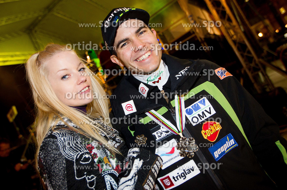 Singer Taya, Tanja Adamic with her future husband Jernej Damjan during reception of Slovenian Ski jumping team after they get bronze team medal and R. Kranjec became World Champion at FIS Ski Flying World Championships 2012 in Vikersund, Norway, on February 28, 2012 in Kongresni try, Ljubljana, Slovenia.  (Photo By Vid Ponikvar / Sportida.com)