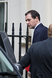 Downing Street, London, October 20th 2015.  Chancellor George Osbourne leaves 11 Downing Street for Parliament ahead of the tax credits debate.
