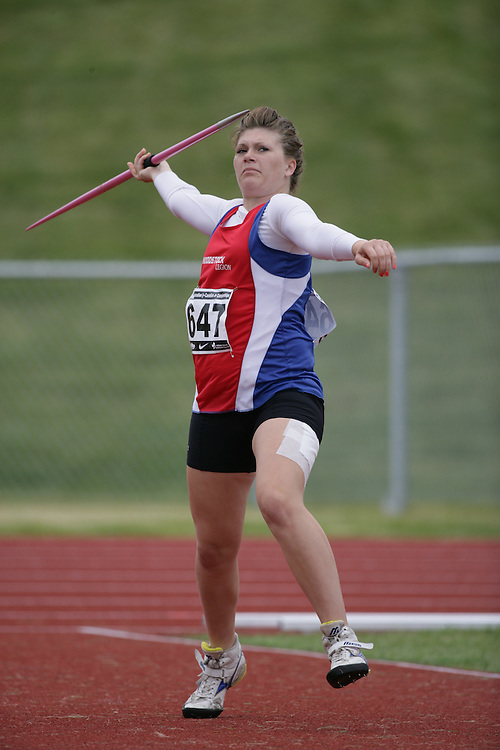 (Charlottetown, Prince Edward Island -- 20090717) Danielle O'Donnell of Stride Ahead Tough Track competes in the javelin throw at the 2009 Canadian Junior Track & Field Championships at UPEI Alumni Canada Games Place on the campus of the University of Prince Edward Island, July 17-19, 2009.  Copyright Sean Burges / Mundo Sport Images , 2009...Mundo Sport Images has been contracted by Athletics Canada to provide images to the media.