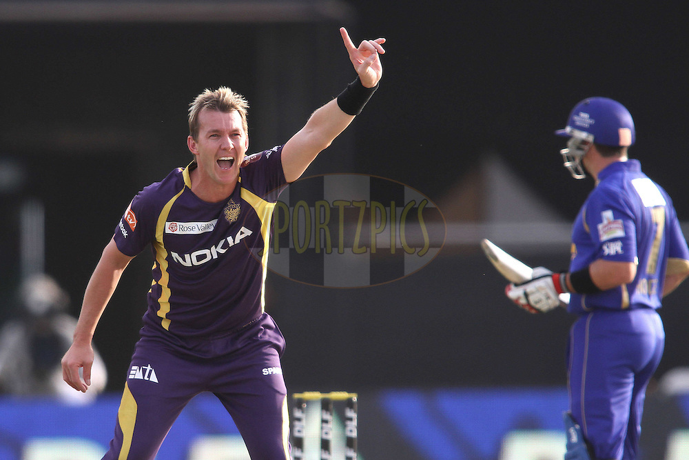 Brett Lee of the Kolkata Knight Riders appeals successfully for a catch during match 7 of the the Indian Premier League ( IPL) 2012  between The Rajasthan Royals and the Kolkata Knight Riders held at the Sawai Mansingh Stadium in Jaipur on the 8th April 2012..Photo by Shaun Roy/IPL/SPORTZPICS