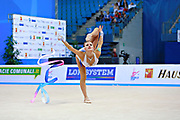 Nazarenkova Elizaveta of Uzbekistan competes during the Rhythmic Gymnastics Individual ribbon qulification of the World Cup at Adriatic Arena on April 2, 2016 in Pesaro, Italy. She  is a individual rhythmic gymnast of Russian origin born in  Murmansk in 1995.
